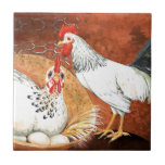 Gallo y gallina con los huevos en la jerarquía pin teja  ceramica