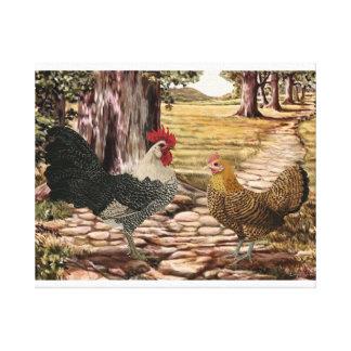 Gallo y gallina de Campine en un ajuste enselvado Impresión En Lienzo Estirada
