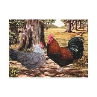 Gallo y gallina de Dorking en el ajuste enselvado Impresión En Tela