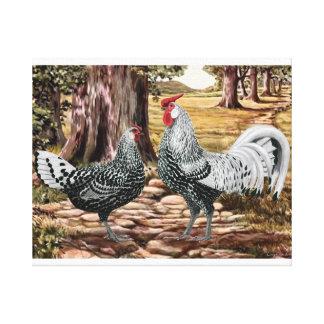 Gallo y gallina de Hamburgo en el ajuste enselvado Impresión En Tela