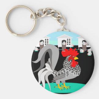 Gallo y gallinas grises llavero personalizado