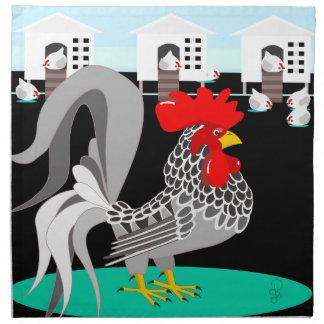 Gallo y gallinas grises servilletas