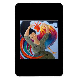 Gallo y mujer coloridos imán rectangular