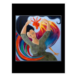 Gallo y mujer coloridos postal