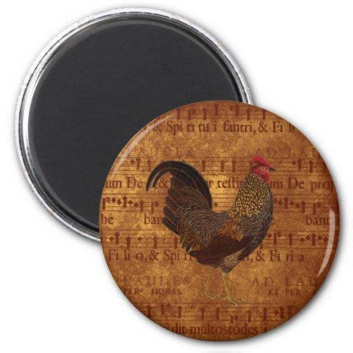 Gallo y música imán redondo 5 cm