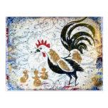 Gallo y polluelos del vintage tarjeta postal