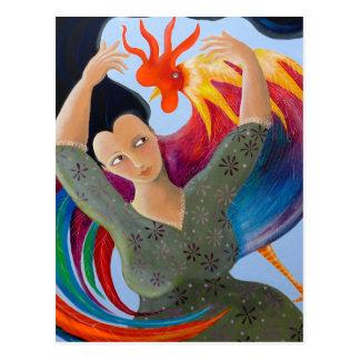 Gallo y señora coloridos brillantes tarjeta postal
