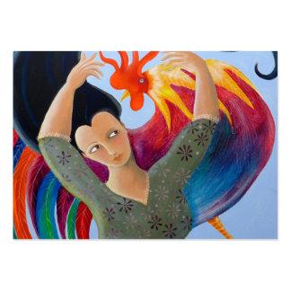 Gallo y señora coloridos brillantes tarjetas de visita grandes