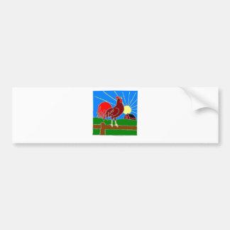 gallo y sol pegatina de parachoque