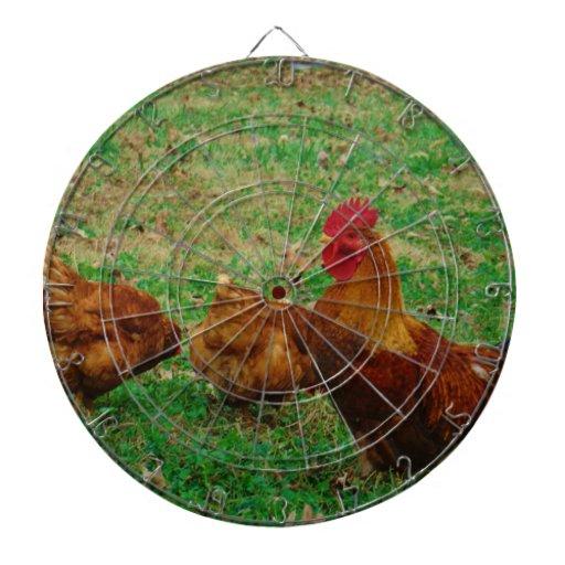 Gallo y sus pollos tablero dardos