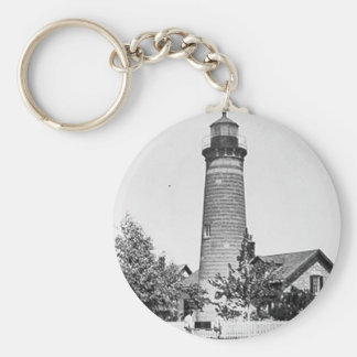 Galloo Island Lighthouse Basic Round Button Keychain