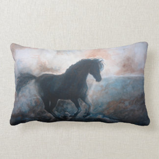 Gallop in the Haze Rectangle Throw Pillow