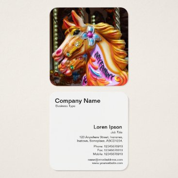 Professional Business Gallopers 02 (Fairground Horses) Square Business Card