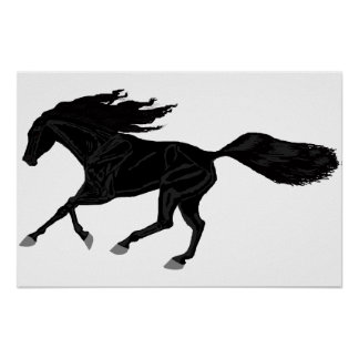 Galloping Arabian Poster