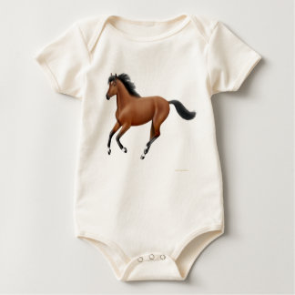 Galloping Bay Horse Organic Infant Creeper