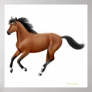 Galloping Bay Horse Poster