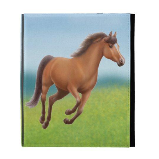 Galloping Bay Thoroughbred Horse iPad Case