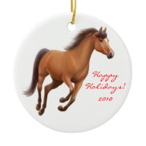 Galloping Bay Thoroughbred Horse Ornament
