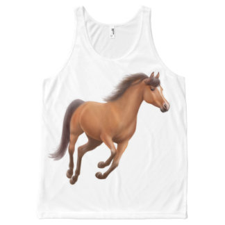 Galloping Bay Thoroughbred Horse Unisex Tank All-Over Print Tank Top