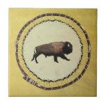 Galloping Bison Ceramic Tile