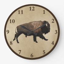 Galloping Bison On Old Paper Large Clock