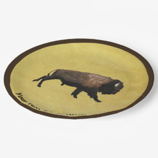 Galloping Bison Paper Plate