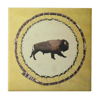 Galloping Bison Small Square Tile