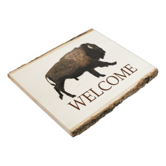 Galloping Bison - Welcome Wood Panel