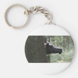 Galloping Black Arabian Mare Keychain