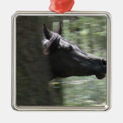 Galloping Black Arabian Mare Christmas Ornament