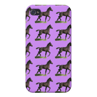 Galloping Black Colt Baby Horse Art iPhone 4 Cover