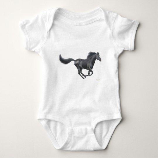 Galloping Black Horse Baby Bodysuit