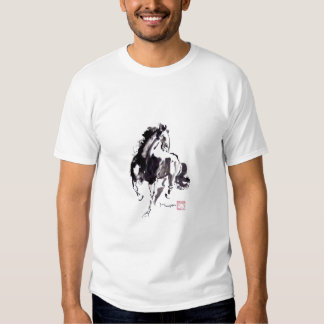 Galloping Black Horse on T-Shirt