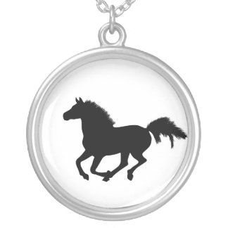Galloping black horse silhouette necklace, gift round pendant necklace