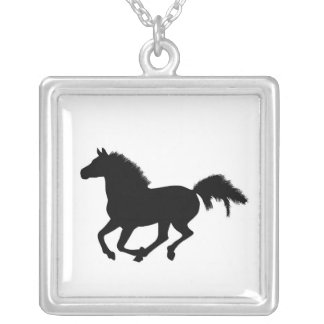 Galloping black horse silhouette necklace, gift square pendant necklace