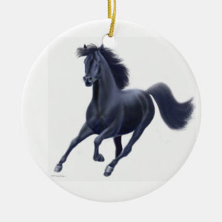 Galloping Black Thoroughbred Horse Ornament