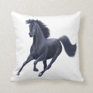 Galloping Black Thoroughbred Horse Pillow