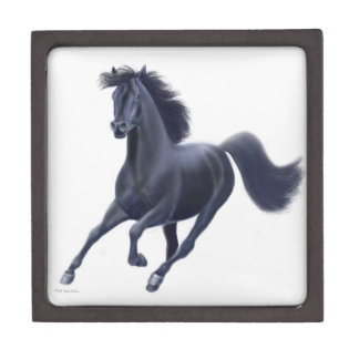 Galloping Black Thoroughbred Horse Premium Gift Bo Keepsake Box