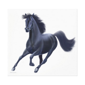 Galloping Black Thoroughbred Horse Wrapped Canvas