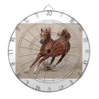 Galloping Brown Chestnut Horse Kicks Up Sand Dart Board