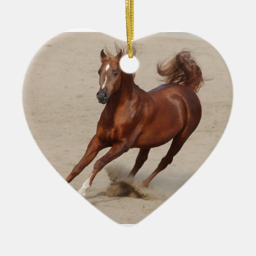 Galloping Brown Chestnut Horse Kicks Up Sand Ornaments