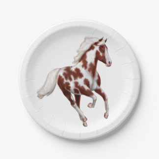 Galloping Brown Paint Horse Paper Plates