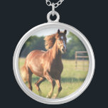 """Galloping Chestnut Horse Necklace<br><div class=""""desc"""">Galloping Chestnut Horse Necklace.</div>"""