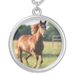 Galloping Chestnut Horse Necklace
