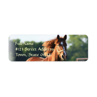 Galloping Chestnut Horse Return Address Label