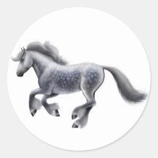 Galloping Dapple Grey Horse Sticker
