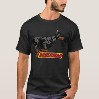 Galloping Doberman- black T-Shirt