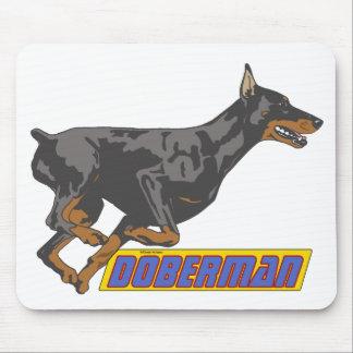 Galloping Doberman -blue Mouse Pad