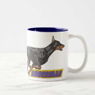 Galloping Doberman -blue Two-Tone Coffee Mug
