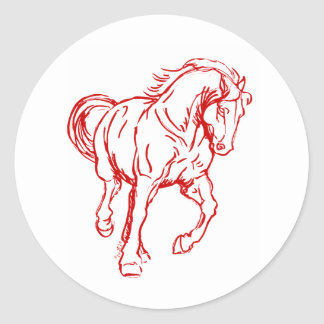 Galloping Draft Horse Classic Round Sticker
